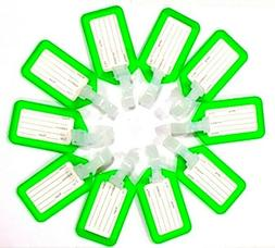 10 Piece Green Plastic Luggage Tag for Suitcase Baggage