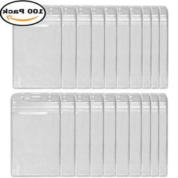 HOSL 100 PCS Waterproof Clear Plastic Vertical Name Tag Badg