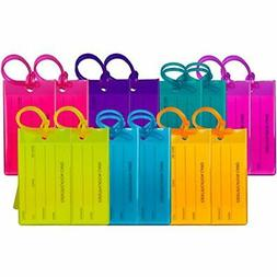 14 Pack Luggage Tags For Suitcases, Flexible Silicone Travel