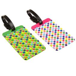 2 Luggage Tags Labels Strap Name Address ID Suitcase Bag Bag