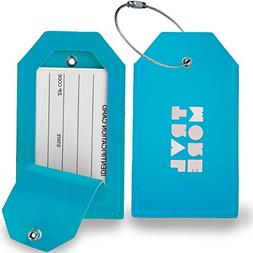 2 Pack TravelMore PU Leather Luggage Tags For Suitcases w/Pr