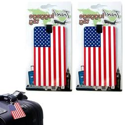 2 Pc Set USA Luggage Tags Label ID Suitcase Bag Baggage Trav