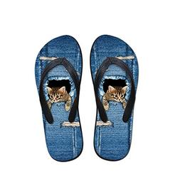 Toping Fine sandals 2018 flip Flops Hole Denim pet Flat Slip