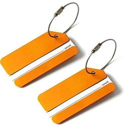 2x Luggage Tags, Aluminum Metal Travel Suitcase Identifier T