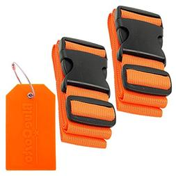 BlueCosto 2x Orange Luggage Straps Belts + 1x Orange Suitcas