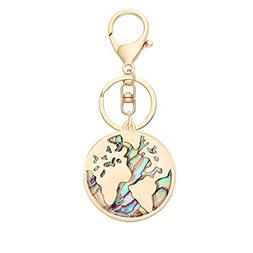 SENFAI 3 Tone Nature Abalone Shell World Map Keychain Bag Je