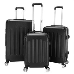 3Pcs Grey Luggage Travel Set Bag TSA Lock ABS Trolley Spinne