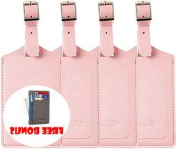 4 pack leather luggage tags w privacy