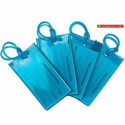 4 Pack TravelMore Luggage Tags For Suitcases, Flexible Silic