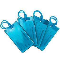 4 Pack TravelMore Luggage Tags For Suitcases Flexible Silico