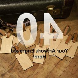 40 Custom Made Wooden Personalized Luggage ID Name Tag with