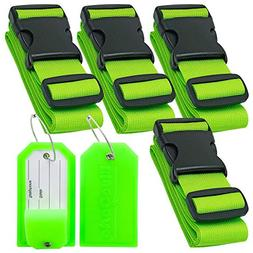 BlueCosto 4x Green Luggage Straps Belts + 2x Green Suitcase