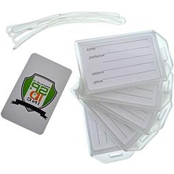 """5 Pack of Premium Rigid Airline Luggage Tag Holders with 6"""""""