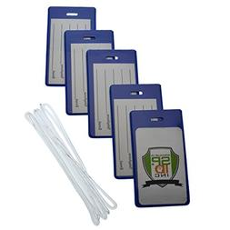 5 Pack of Slim and Sturdy Backpack / Airline Luggage ID Bag