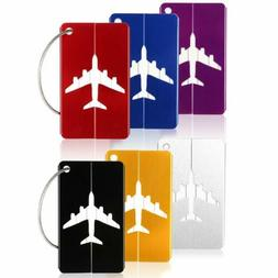 6x Aluminium Luggage Tags Suitcase Label Name Address ID Bag