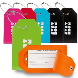 7-Pack TravelMore PU Leather Luggage Tags w/Privacy Cover Su