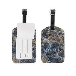 ALAZA Abstract Gray Marble Luggage Tags Travel Suitcase Leat