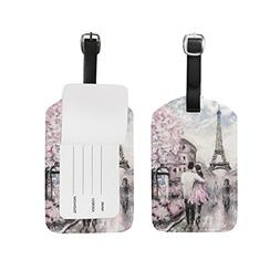 ALAZA Eiffel Tower Paris Oil Painting Luggage Tag PU Leather