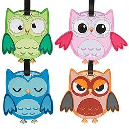 Bundle Monster 4pc Fun Mixed Owl Design Silicone Luggage ID