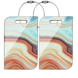 Cheliz MDF Wood Luggage Tags Suitcase Labels Bag - Set of 2