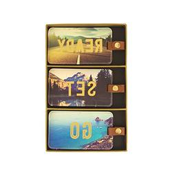 Eccolo World Traveler Luggage Tags, Set of 3, Travel Photo -