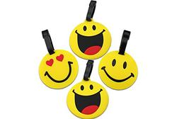 Finex Set of 4 - Emoji Smiling Face Travel Luggage Tags Bag