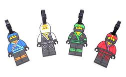 Finex Set of 4 LEGO Ninjago Travel Luggage Tag with Adjustab
