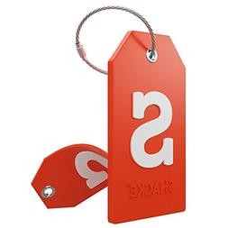 Initial Luggage Tag with Full Privacy Cover and Stainless St