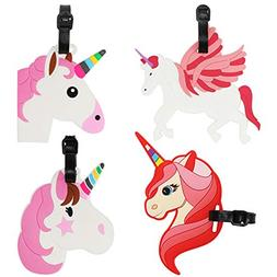 Kids Luggage Tags Unicorn Horse Name ID Labels Suitcase Bagg