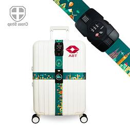 Luggage Straps TSA Approved Lock Long Cross Strap Adjustable
