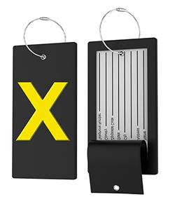 Luggage Tag Initial Bag Tag - Fully Bendable Tag w/ Stainles