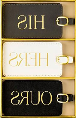 Luggage Tag Set of 3, His Hers Ours