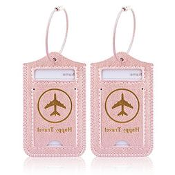 Luggage Tags, ACdream Leather Case Luggage Bag Tags Travel T