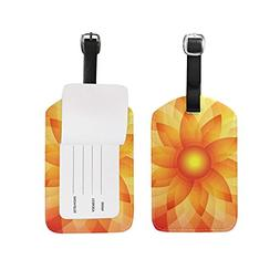 Luggage Tags Abstract Vintage Art Sunflower Mandala Travel B