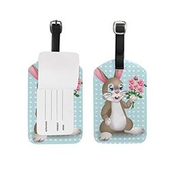 Luggage Tags Easter Cute Rabbit Floral Flowers Hearts Travel