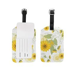 Luggage Tags Small Yellow Sunflowers Floral Travel Baggage T