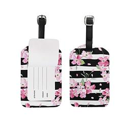 Luggage Tags Spring Summer Floral Flowers Striped Travel Bag