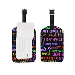 Luggage Tags Valentines Day Love You Colorful Monogrammed Tr