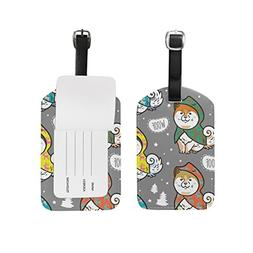 My Daily Husky Puppies Colorful Raincoats Luggage Tags PU Le