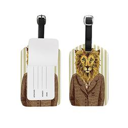 My Daily Jacket Lion Stripe Luggage Tags PU Leather Bag Suit