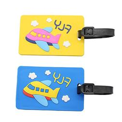 Mziart Cartoon Airplane Luggage Tags with Rubber Strap, Set