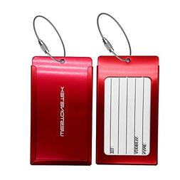 Pack of 2 Luggage Tags, Aluminum Metal Travel ID Tag Busines