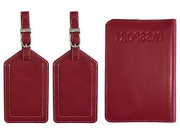 Red Leather RFID Passport Cover Holder and 2 Luggage Tags