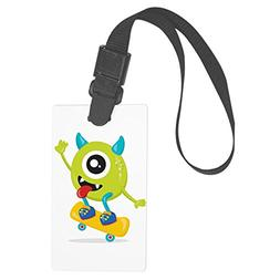 Royal Lion Large Luggage Tag One Eyed Monster on Skateboard