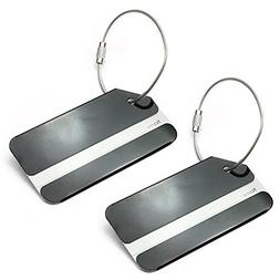 Set of 2 Aluminum Metal Travel Suitcase Identifier Luggage T