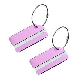 Set of 2 Aluminum Metal Travel Suitcase Luggage Identifier T