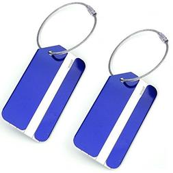 Set of 2 Aluminum Metal Travel Suitcase Luggage Tags Labels