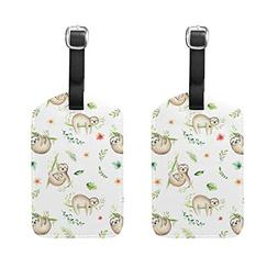 Set of 2 Luggage Tags Cartoon Baby Sloth Tree Suitcase Label