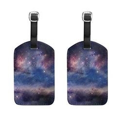 Set of 2 Luggage Tags Cosmos Space Suitcase Labels Travel Ac