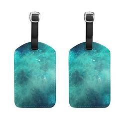 Set of 2 Luggage Tags Galaxy Starry Night Sky Suitcase Label